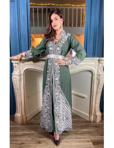 Robe indienne de Soirée vert kaki & argenté  - 1