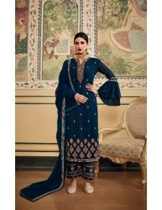 Tenue indienne Salwar Kameez Churidar Anarkali Nyla Bleu vert  - 1