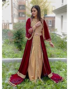 Sherwani Rouge et Beige Haute Gamme