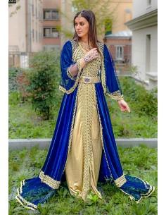 Caftan en velours (avec cape) bleu royal et doré  - 1