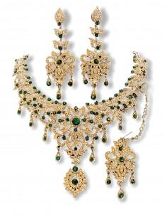 Parure bijoux indiens Maharani doré et vert émeraude bollywood  - 1