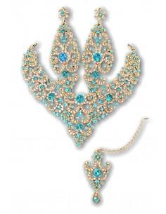 Parure Bijoux indiens Preeya turquoise et Doré bollywood  - 1