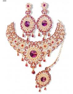 Parure Bijoux indiens Bollywood dore Rose A194  - 1