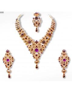 Parure Bijoux indiens Meena violet et doré  - 1