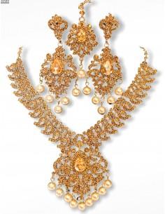 Parure Bijoux indiens Bollywood ambré perlé  - 1