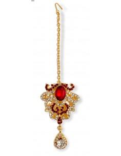 Maang Tikka (Bijoux tête) rouge et doré  - 1
