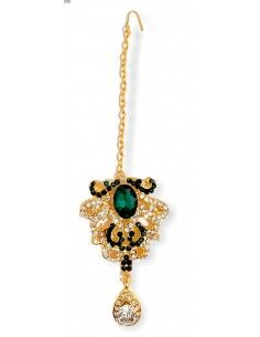 Bijoux de tête(maang tikka) doré et vert  - 1