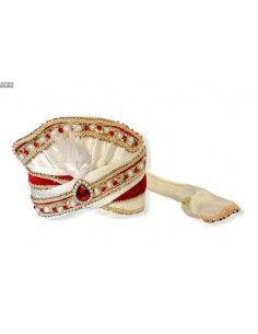 Chapeau traditionnel Pagdi Blanc et Rouge  - 1