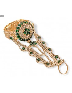 Bijoux de main indien vert doré  - 1