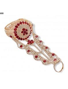 Bijoux de main indien rouge et doré  - 1