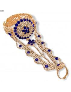 Bijoux de main indien doré et bleu  - 1