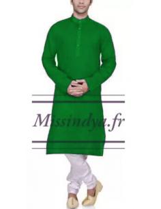 Tunique indien homme vert clair  - 1