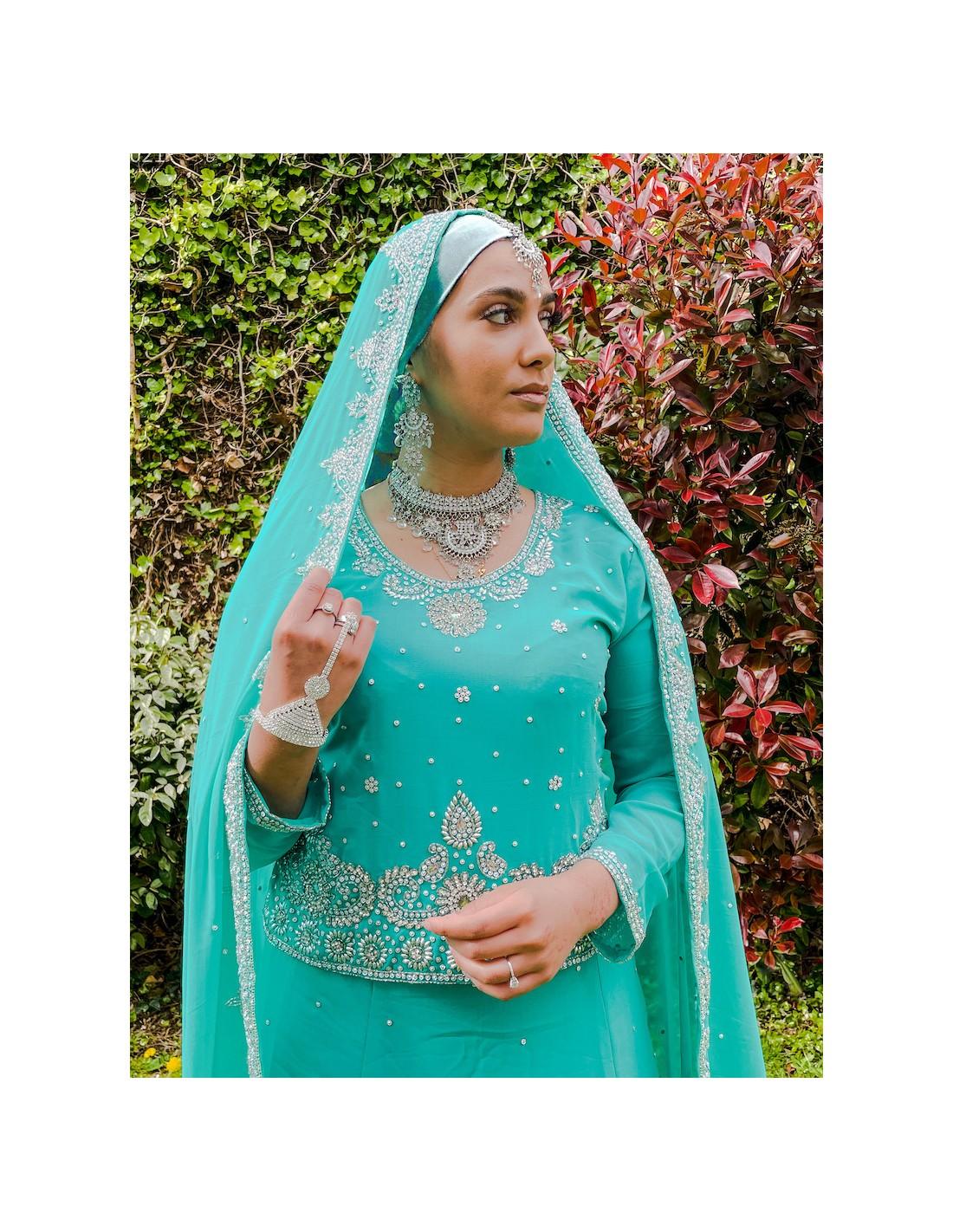 16b1ce635f6 Robe de Soirée indienne Style caftan Vert