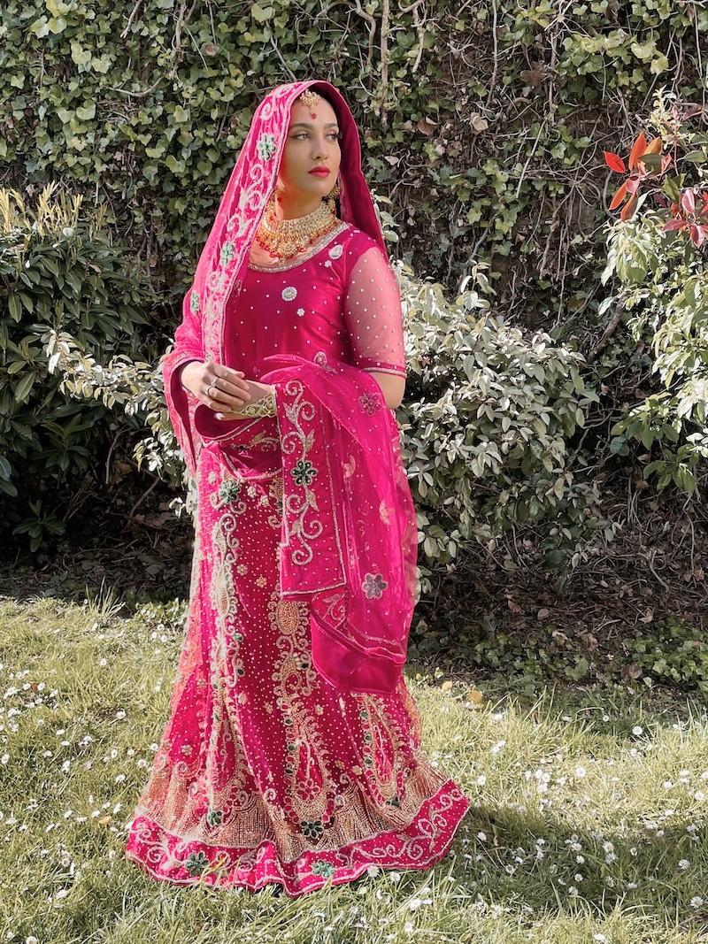 Rose Lehenga Choli Indien Ethnique Mariage Soirée Lazzari Chunri Lahanga Sari