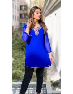 Tunique kurti indienne ethnique perlé Bleu et doré  - 1