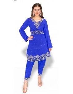 Tenue indienne Salwar Kameez shebaz bleu royal et argenté  - 1
