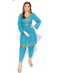 Tenue indienne Salwar Kameez Shebaz bleu turquoise et dore  - 1
