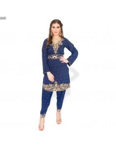 Robe indienne Salwar Kameez Shebaz Bleu marine et dore  - 1