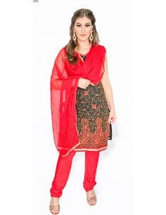 Robe indienne Churidar Salwar Kameez rouge noir AV21  - 1