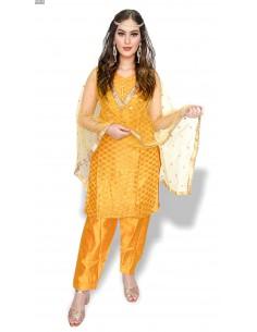 Tenue indienne Salwar Kameez Banarsi Jaune et dorée  - 1