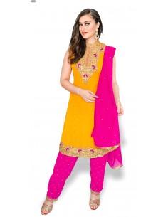 Robe indienne Salwar Kameez perlé Jaune et rose  - 1
