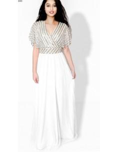 Robe indienne oriental de Soirée Strass argente pas cher blanc  - 1