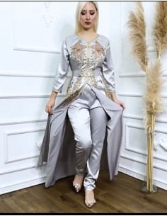 Caftan satin gris takchita abaya moderne modele 2021  - 1