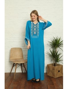 Caftan Tunique kaftan longue Kurti ethnique Bleu  - 1