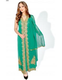 Robe indienne de Soirée Vert et dore  - 1