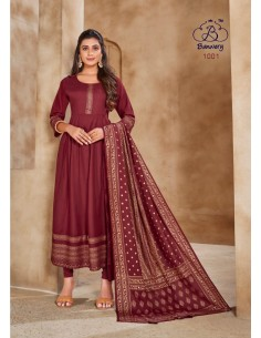 Robe indienne Salwar Kameez churidar anarkali Rouge Ocre  - 1