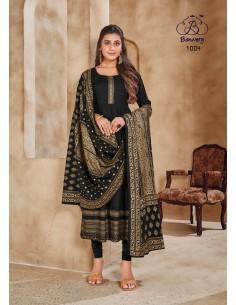 Robe indienne Salwar Kameez churidar anarkali Noir  - 1