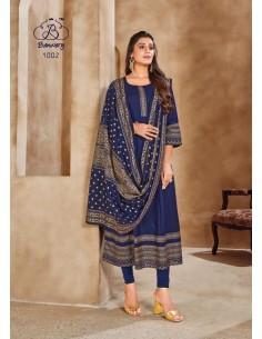 Robe indienne Salwar Kameez churidar anarkali Bleu  - 1