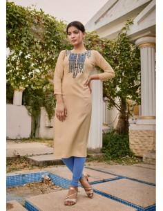 Tunique indienne Lily ethnique beige  - 1