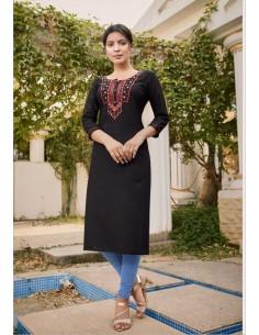 Tunique indienne Lily ethnique noir  - 2