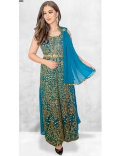 Robe de Soirée Bleu Vert et dore oriental  - 1