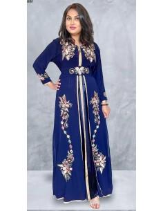 Caftan abaya takchita Bleu satin  - 1