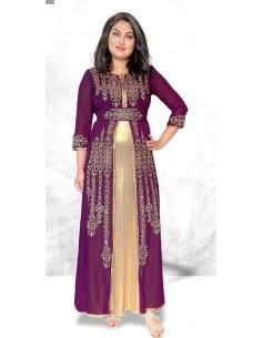 Caftan abaya takchita Violet JUIL21  - 1