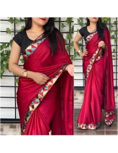 Sari indien anikta Rouge saree Bollywood soie  - 1