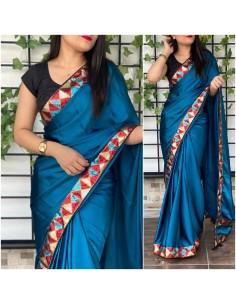 Sari indien anikta Bleu saree Bollywood soie  - 1
