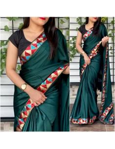 Sari indien anikta Vert saree Bollywood soie  - 1