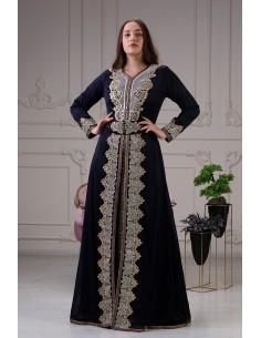 Caftan Bleu marine Robe oriental Chic  - 1