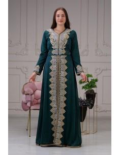 Caftan Vert bleu Robe oriental Chic  - 1