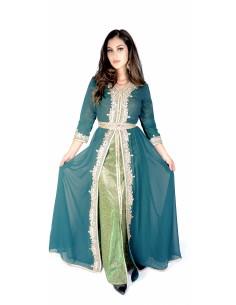 Caftan vert Robe oriental Kaftan moderne  - 1