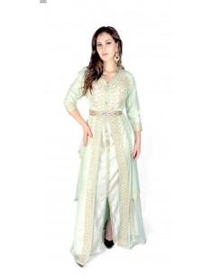 Caftan vert Pistache robe oriental Kaftan moderne  - 1