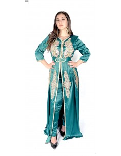 Caftan satin Vert takchita abaya moderne modele 2021  - 1