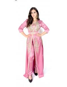 Caftan satin Rose takchita abaya moderne modele 2021  - 1