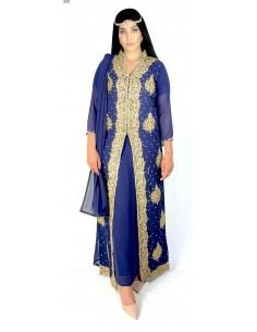 Robe indienne de Soirée dhamak Bleu marine et doré AV21  - 1
