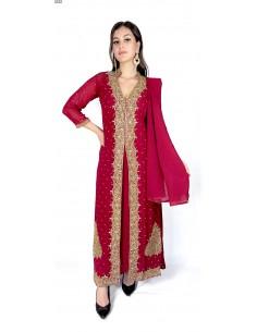 Robe indienne de Soirée dhamakRouge et doré AV21  - 1