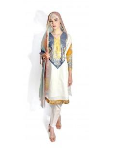 Tenue indienne Salwar Kameez Churidar Anarkali Rouk gris blanc  - 1