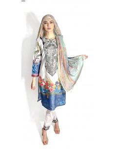 Tenue indienne pakistanaise Salwar Kameez Churidar Anarkali Rouk Bleu blanc  - 1